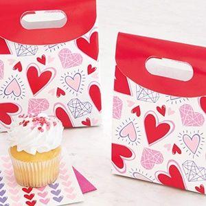4 Sparkling Hearts Favor Boxes